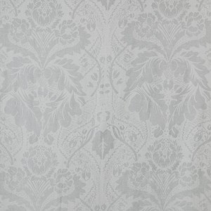 Damask in Silver on White