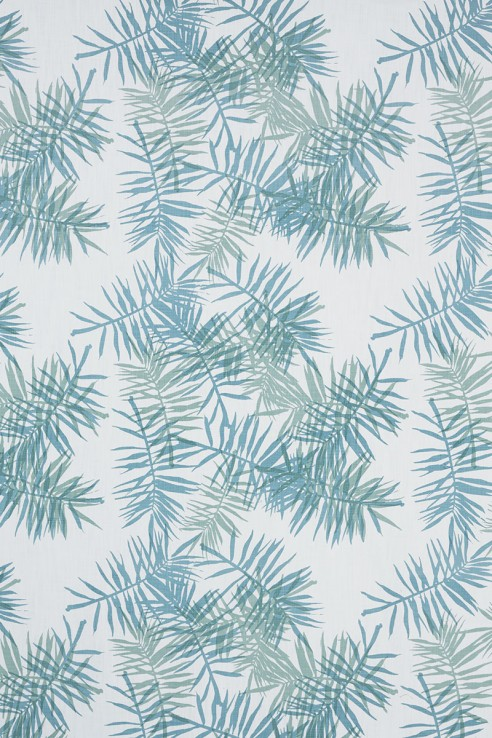 Palmfrond in Aqua & Seafoam on White 1