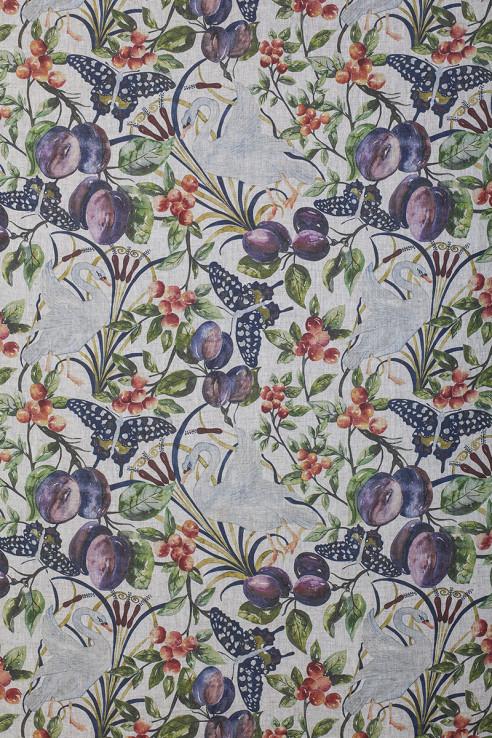 Birds and Fruit in Full Colour on Slub Linen 1
