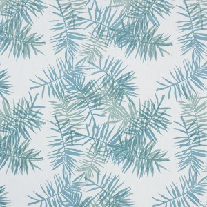 Palmfrond in Aqua & Seafoam on White