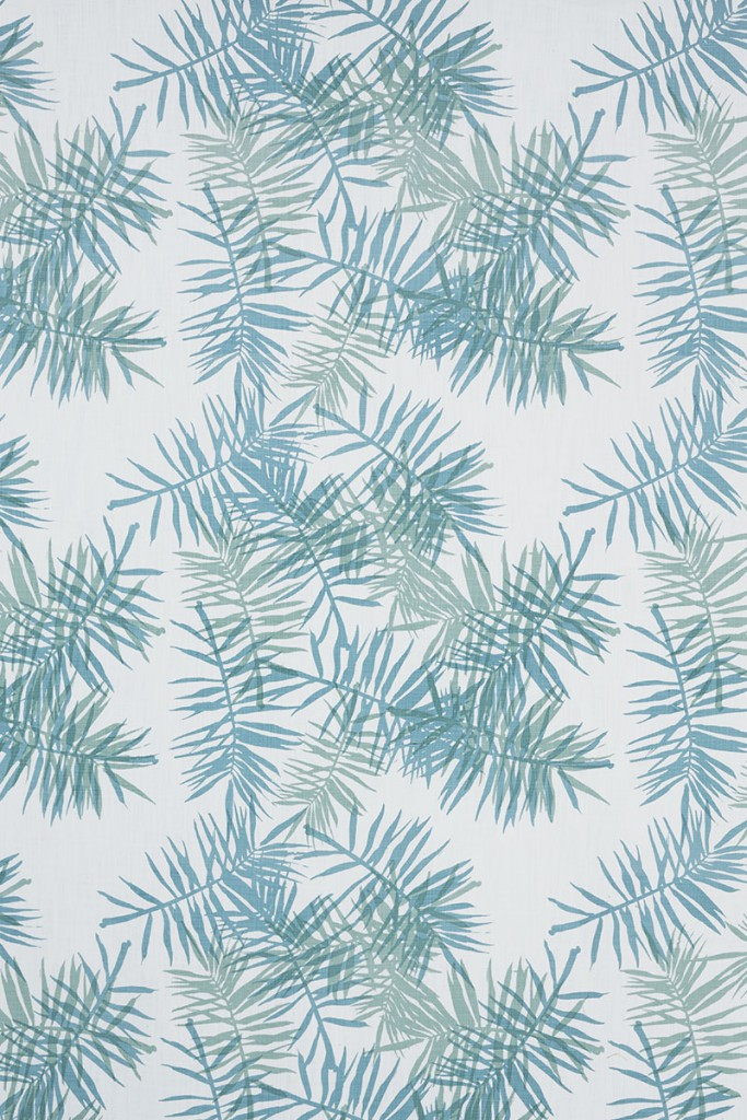 Palmfrond in Aqua & Seafoam on White