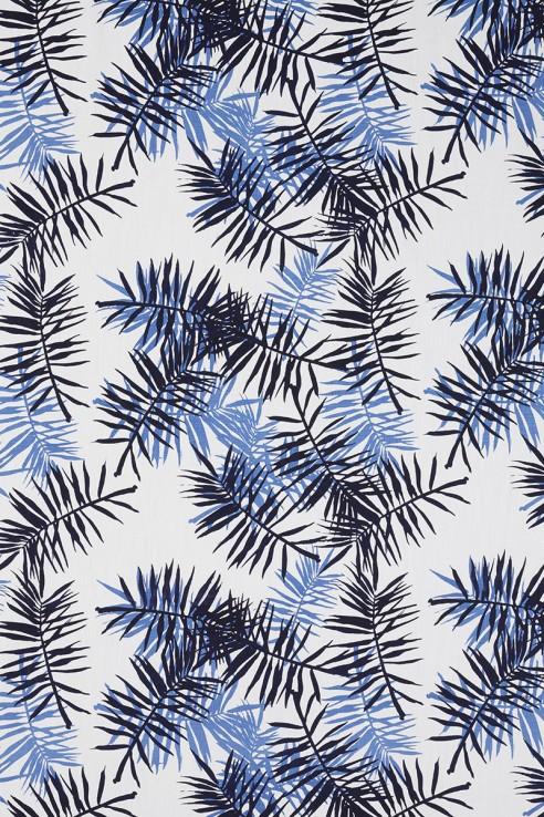 Palmfrond in Indigo & Periwinkle on White 1