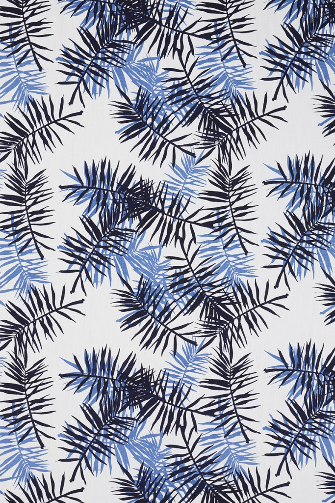 Palmfrond in Indigo & Periwinkle on White