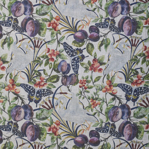 Birds and Fruit in Full Colour on Slub Linen