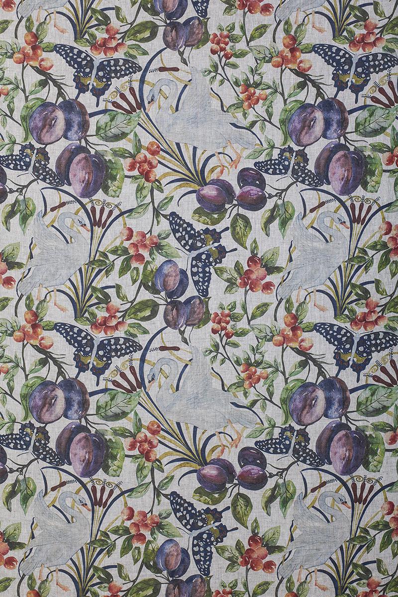 Birds and Fruit in Full Colour on Slub Linen