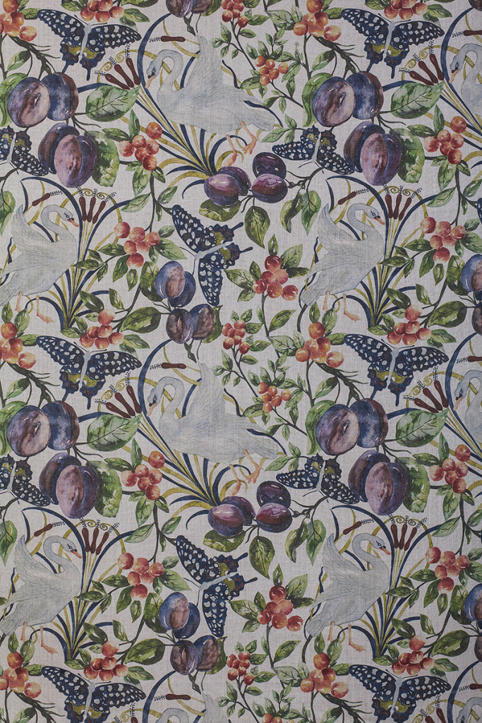 Birds and Fruit in Full Colour on Pure Linen