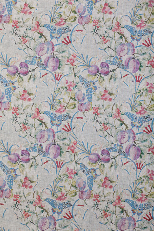 Birds and Fruit in Vintage on Slub Linen 1